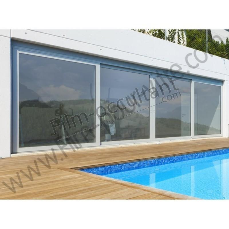 tser 74 effet miroir faible film solaire adhesif pose exterieure argent. Black Bedroom Furniture Sets. Home Design Ideas