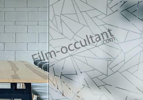 Film decoratif adhesif motif effet vitrage lézardé