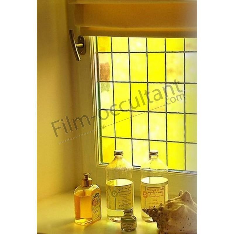 film adh sif d coratif effet vitrail carreaux jaunes film occultant com. Black Bedroom Furniture Sets. Home Design Ideas
