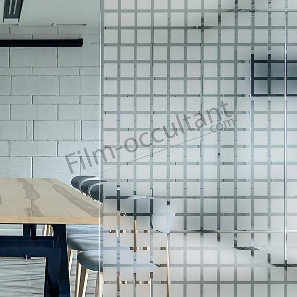 Film adhésif décoration carrés dépolis 45mm