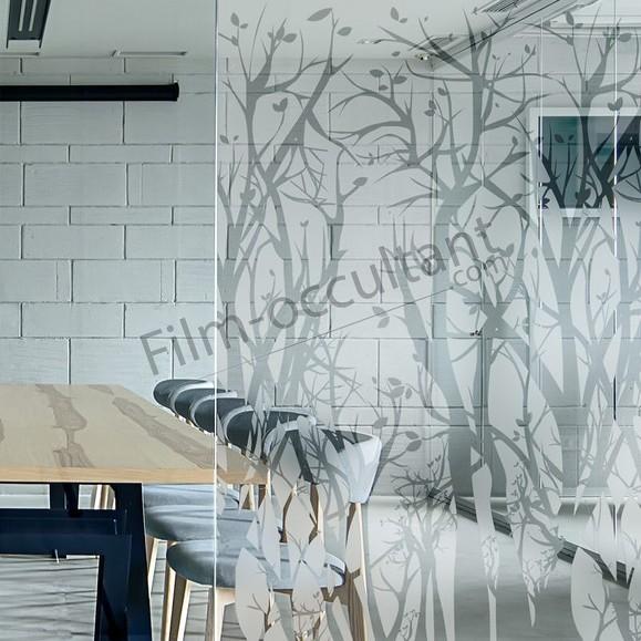 Film décoratif adhésif pour vitrage Arbres depolis