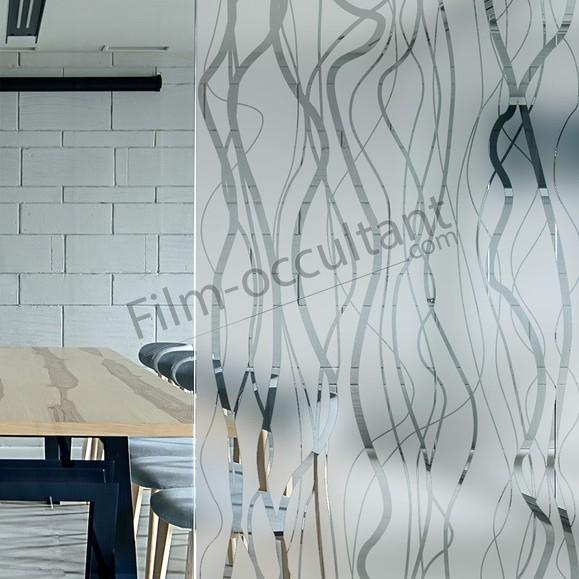 Film décoratif adhésif dépoli Courbes verticales