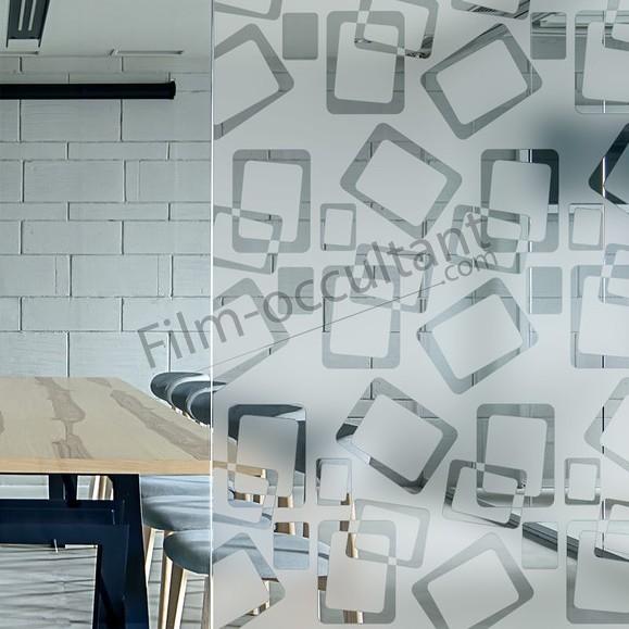 Film décoratif adhésif carrés dépolis arrondis
