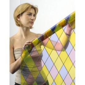 Film adhésif décoration effet vitrail multicolore