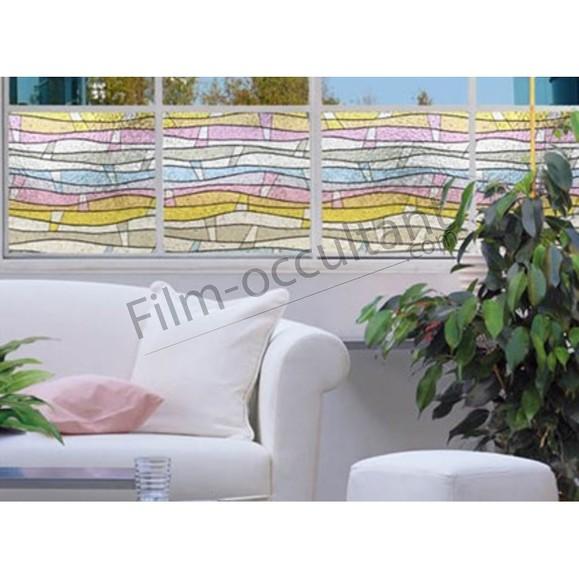Film repositionnable vitrail décoratif Vagues